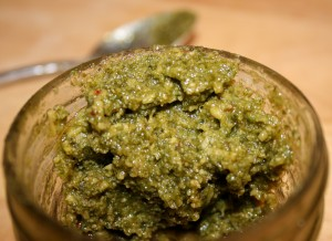 cilantro pesto with spoon