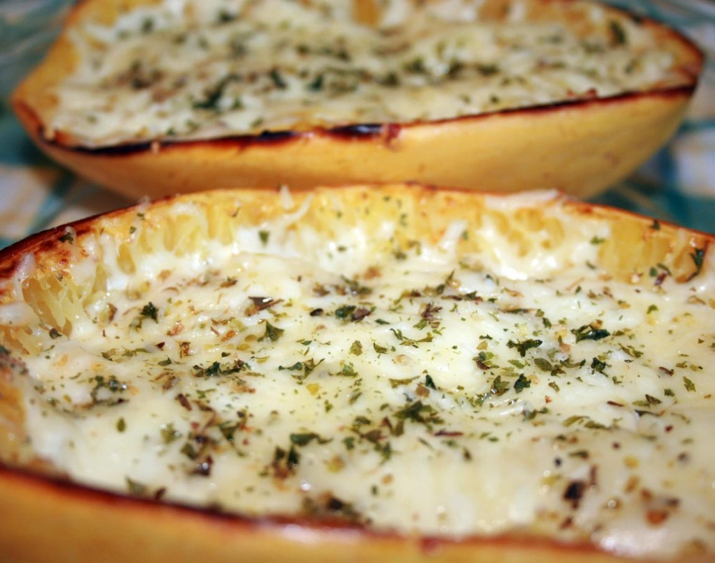 baked spaghetti squash with cheese and herbs